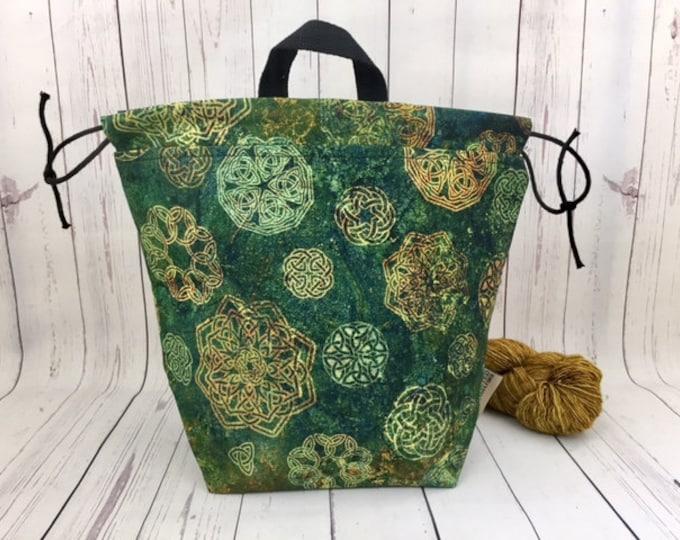 Celtic Symbols, Bucket bag, Knitting project bag, Crochet project bag,  Project Bag, Yarn bowl, Large Project bag