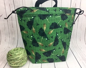 Elphaba / Wicked Witch/ Oz/ Wicked Bucket bag, Knitting project bag, Crochet project bag,  Project Bag, Yarn bowl