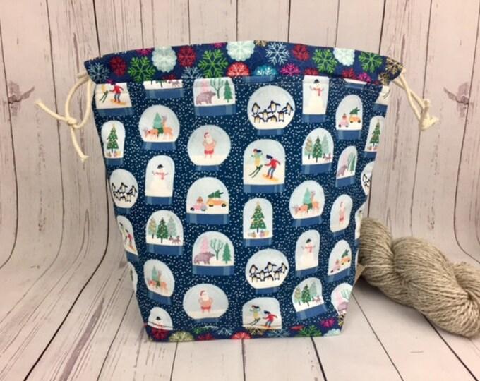 Snow Globes Bucket bag, Knitting project bag, Crochet project bag,  Project Bag, Yarn bowl, Christmas knitting/ Crochet, Advent bag