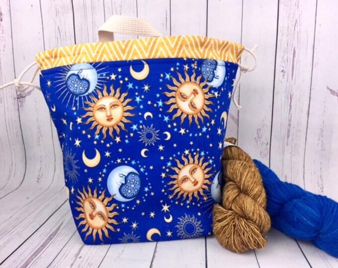 Celestial Sun Moon and Stars, Bucket bag, Knitting project bag, Crochet project bag,  Project Bag, Yarn bowl, Shawl Knitting