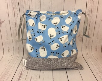 Sheep in Blue and Gray,  Knitting project Bag, Crochet Bag, Yarn Bag,  Project Bag, Sock knitting bag, Drawstring project bag