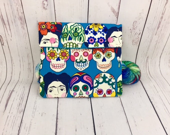 Sugar Skulls / Frida/ Amor,  Circular Knitting Needles Case or Knitting Notions Case, Crochet notions case, Accessories case, Circular Case