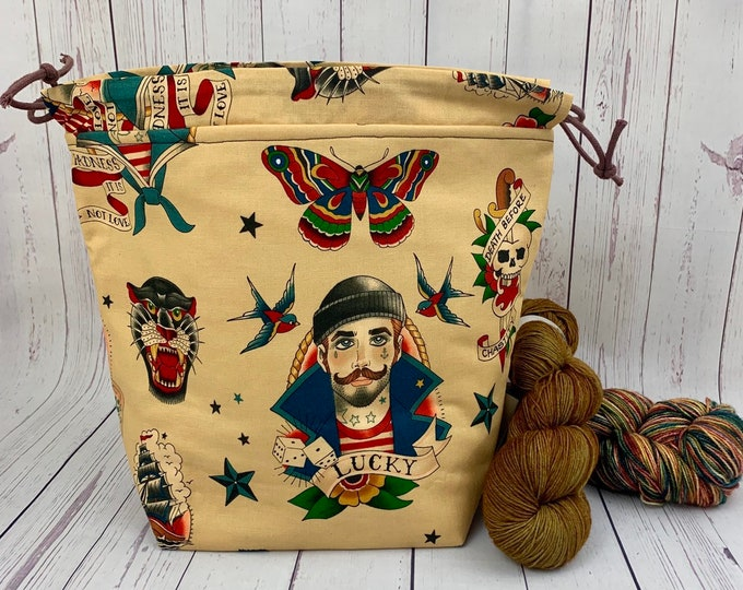Old School Nautical Tattoos Twisted Bucket bag, Knitting project bag, Crochet project bag,  Project Bag, Yarn bowl, Large Project bag