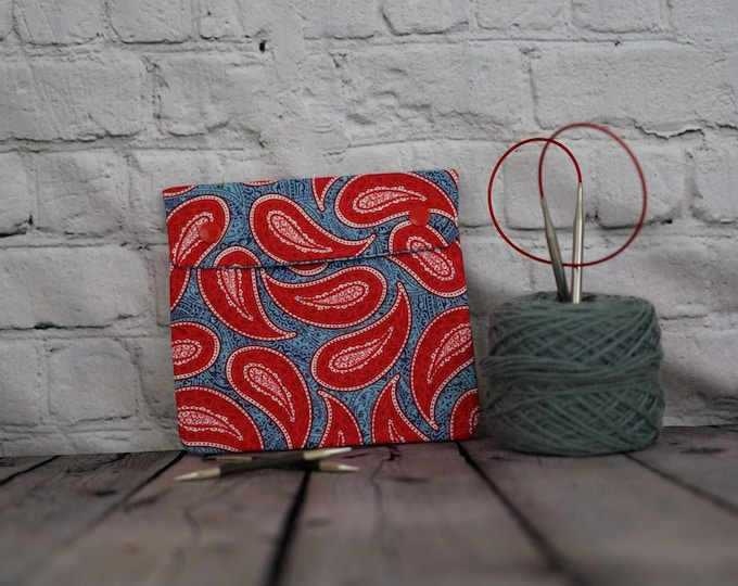Paisley Red and blue Circular Knitting Needle Case or Notions case for Knitting Notions, Crochet notions case, Accessories case