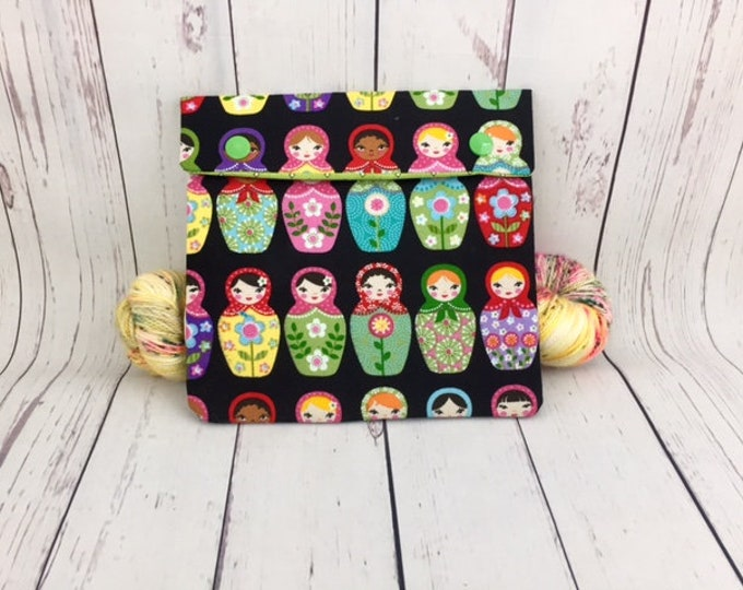 Matryoshka Dolls,  Circular Knitting Needles Case or Knitting Notions Case, Crochet notions case, Accessories case, Circular Case