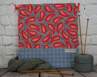 Denim Blue and Red Paisley bag,  Knitting Project Bag, Crochet Project Bag, Yarn Bag, Shawl project bag,  Project Bag, Sock knitting bag