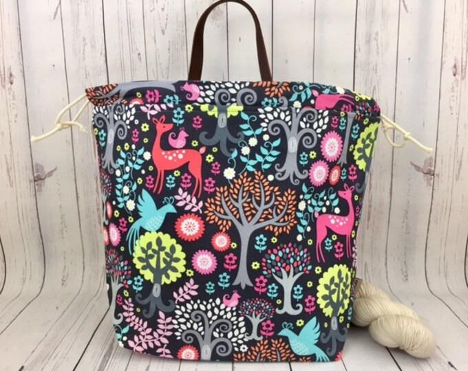 Fantasy Woods,  Shweater bag, XL  Project bag, Knitting bag, Crochet project bag,  Project Bag, Sweater knitting bag, Shawl Knitting bag