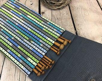 """10"""" Knitting Needle Case for straight Needles, Knitting case, Needle Case"""