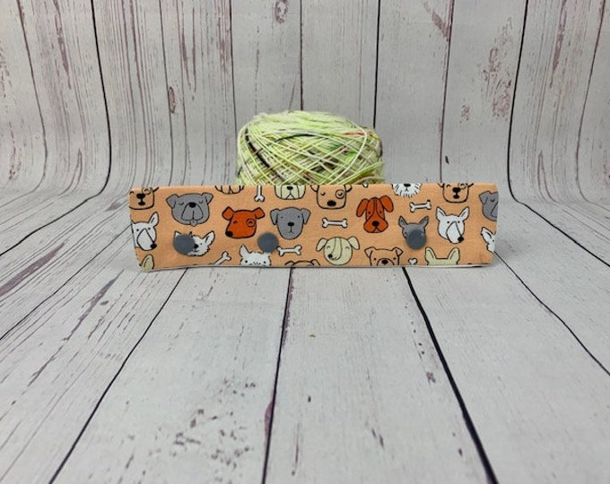 "Dogs - Orange,  Circular Needle Holder,  6-8"" DPN Holder for Knitting, Circular Needle Holder, DPN needle holder, Circular holder"