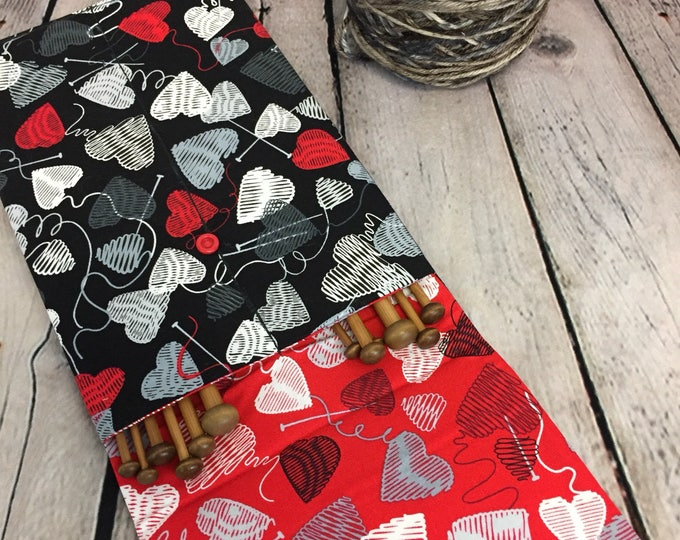 """10"""" Knitting Needle Case - Yarn print for straight Needles, Knitting case, Needle Case"""