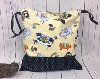 J Shore Cows, Pigs, Sheep,  Knitting project Bag, Crochet Bag, Yarn Bag,  Project Bag, Sock knitting bag, Drawstring project bag