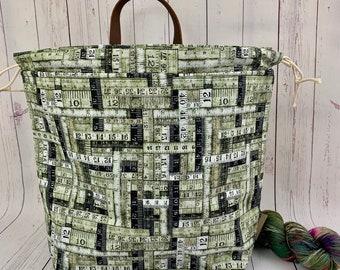 Green Rulers, Shweater bag, XL Project bag, Knitting bag, Crochet project bag,  Project Bag, Sweater knitting bag, Shawl Knittin