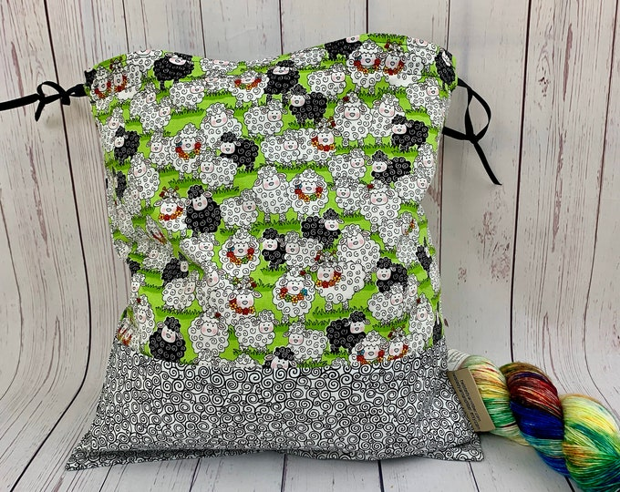 Sheep,  Knitting Project Bag, Crochet Project Bag, Yarn Bag, Fiber Project Bag, Sock knitting bag, Shawl projec