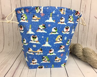Snow Sheep Winter Bucket bag, Knitting project bag, Crochet project bag,  Project Bag, Yarn bowl, Advent bag, Christmas