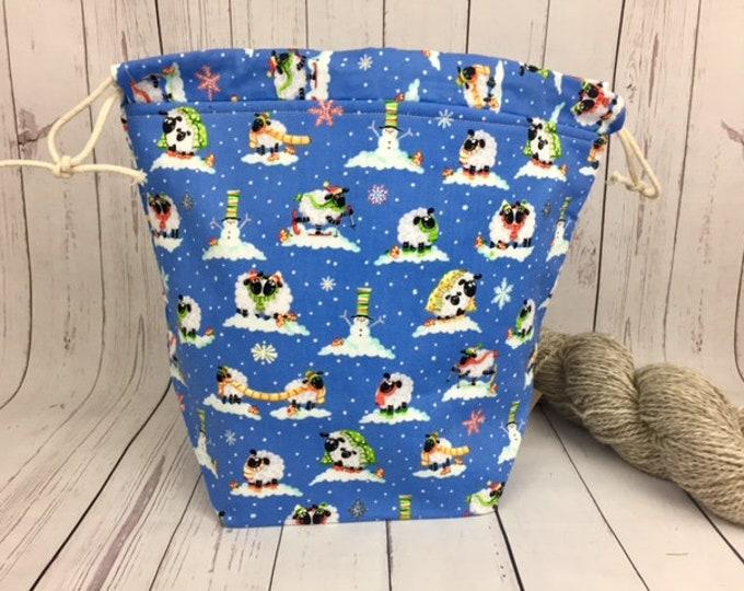 Snow Sheep Winter Bucket bag, Knitting project bag, Crochet project bag,  Project Bag, Yarn bowl, Advent bag, Christmas