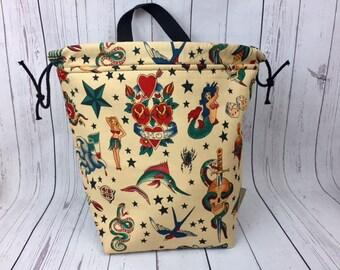 Old School Tattoos Bucket bag, Knitting project bag, Crochet project bag,  Project Bag, Yarn bowl