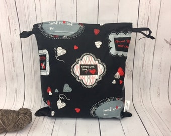 I Love Knitting,  Knitting project Bag, Crochet Bag, Yarn Bag,  Project Bag, Sock knitting bag, Drawstring project bag