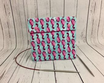 Seahorses,  Circular Knitting Needles Case or Knitting Notions Case, Crochet notions case, Accessories case, Circular Case