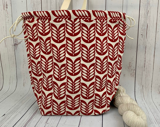 Red Flower , Twisted Work Bag, Large Canvas project bag w/ full length pocket, Shawl /Sweater Knitting, Crochet Project, Needle