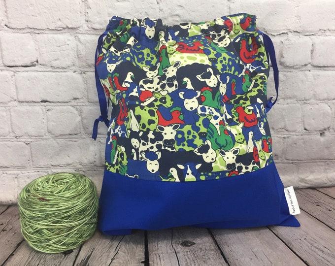 Sheep / Cows/ Chickens,  Knitting project Bag, Crochet Bag, Yarn Bag, Shawl Knitting bag, Project Bag, Knitting Tote, Sock knitting bag