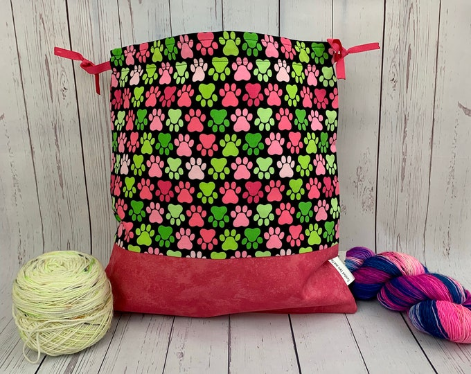 Dog and Cat Paws, Knitting Project Bag, Crochet Project Bag, Yarn Bag, Fiber Project Bag, Sock knitting bag, Shawl projec