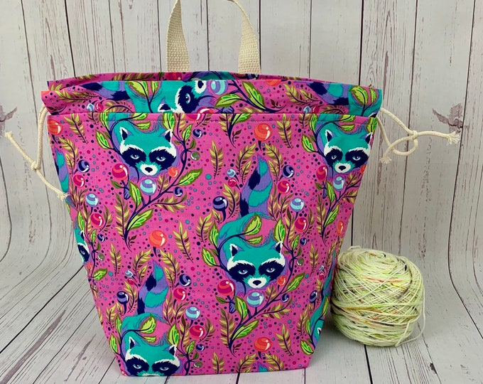 Spirit Raccoons , Twisted Bucket bag, Knitting project bag, Crochet project bag,  Project Bag, Yarn bowl, Large Project bag