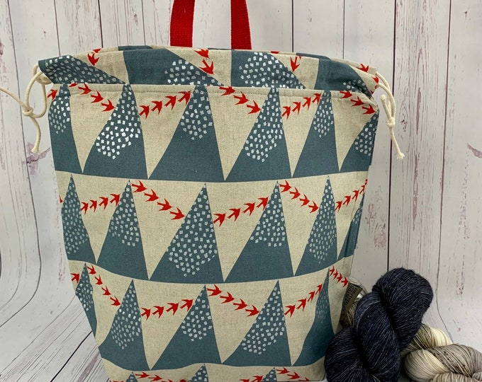 Around The Mountain , Twisted Work Bag, Large Canvas project bag w/ full length pocket, Shawl /Sweater Knitting, Crochet Project, Needle