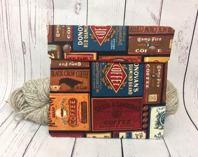 Vintage Coffee,  Circular Knitting Needles Case or Knitting Notions Case, Crochet notions case, Accessories case, Circular Case
