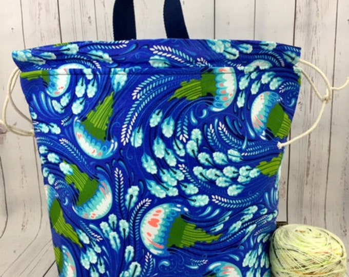 Blue Jellyfish, Shweater bag, XL Project bag, Knitting bag,Crochet project bag,  Project Bag, Sweater knitting bag, Shawl Knitting bag