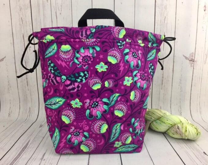 Fantasy Woods w/ skullfly, Bucket bag, Knitting project bag, Crochet project bag,  Project Bag, Yarn bowl, Large Project bag