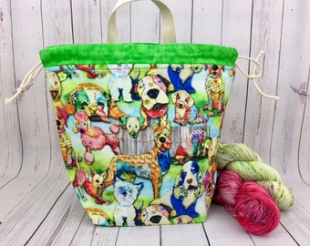 Dogs, Bucket bag, Knitting project bag, Crochet project bag,  Project Bag, Yarn bowl, Large Project bag