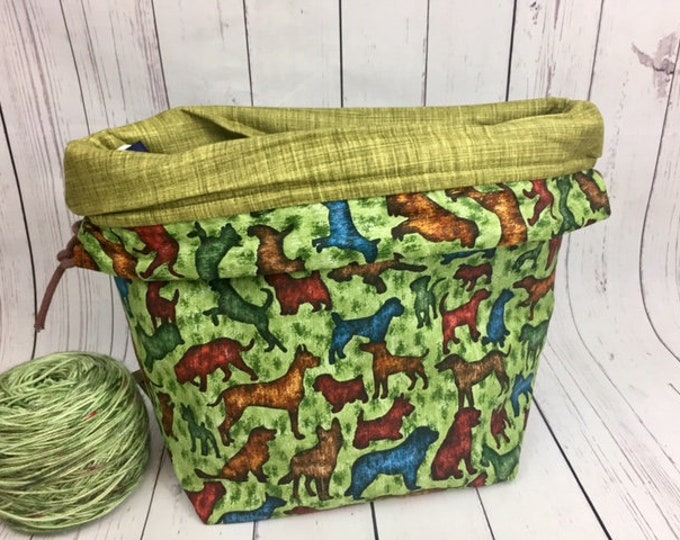 Dogs Bucket bag, Knitting project bag, Crochet project bag,  Project Bag, Yarn bowl