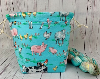 Day on the Farm - Animals, Shocks (Socks to Shawl Bag), Knitting project bag, Crochet project bag, Shawl knitting bag, Sock Knitting bag