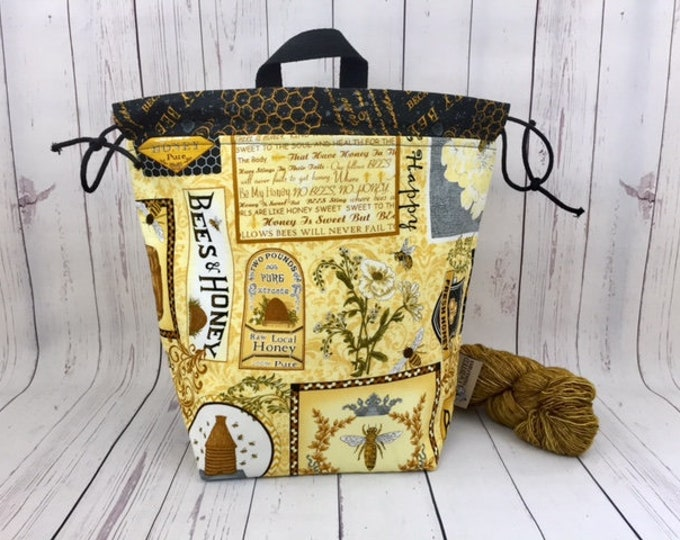Fresh Honey, Twisted Bucket bag, Knitting project bag, Crochet project bag,  Project Bag, Yarn bowl, Large Project bag