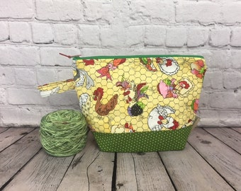 Chickens Print w/ Full length pocket, Knitting project bag, Crochet project bag,  Zipper Project Bag, Yarn bowl, Yarn tote