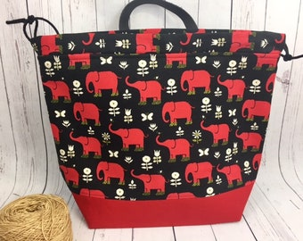 Elephants Canvas Shweater bag, XL  Project bag, Knitting bag, Crochet project bag,  Project Bag, Yarn bowl