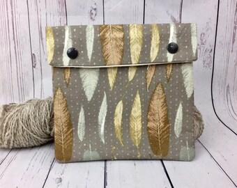 Gray Feather Circular Knitting Needles Case or Knitting Notions Case, Crochet notions case, Accessories case, Circular Case