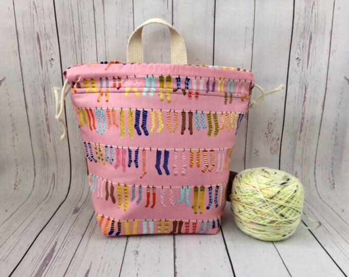 Socks - Pink, Shocks (Socks to Shawl Bag), Knitting project bag, Crochet project bag, Shawl knitting bag, Sock Knitting bag