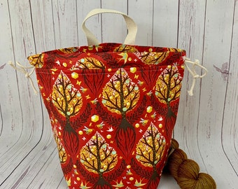 Autumn Roots, Bucket bag, Knitting project bag, Crochet project bag,  Project Bag, Yarn bowl, Large Project bag
