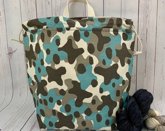 Blue Camo, Twisted Work Bag, Large Canvas project bag w/ full length pocket, Shawl /Sweater Knitting, Crochet Project, Needle