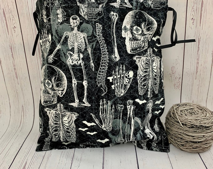 SKeletons,  Knitting Project Bag, Crochet Project Bag, Yarn Bag, Fiber Project Bag, Sock knitting bag, Shawl projec