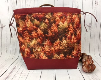 Autumn Trees  Shweater bag, XL  Project bag, Knitting bag, Crochet project bag,  Project Bag, Yarn bowl