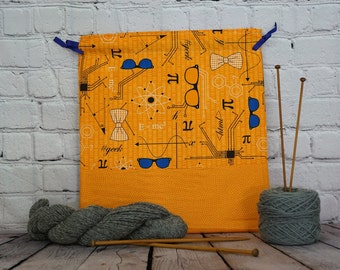 Geek bag,  Knitting Bag, Crochet Bag, Yarn Bag, Knitters or Crochet Gift, Project Bag, Sock knitting bag