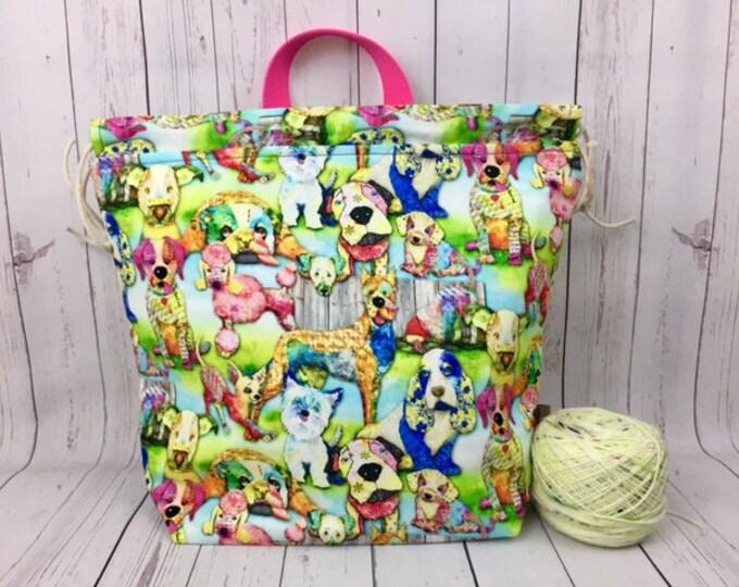 Dogs,  Shweater bag, XL  Project bag, Knitting bag, Crochet project bag,  Project Bag, Sweater knitting bag, Shawl Knitting bag
