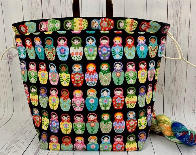 Matryoshka Dolls, Shweater bag, XL Project bag, Knitting bag, Crochet project bag,  Project Bag, Sweater knitting bag, Shawl Knitting ba