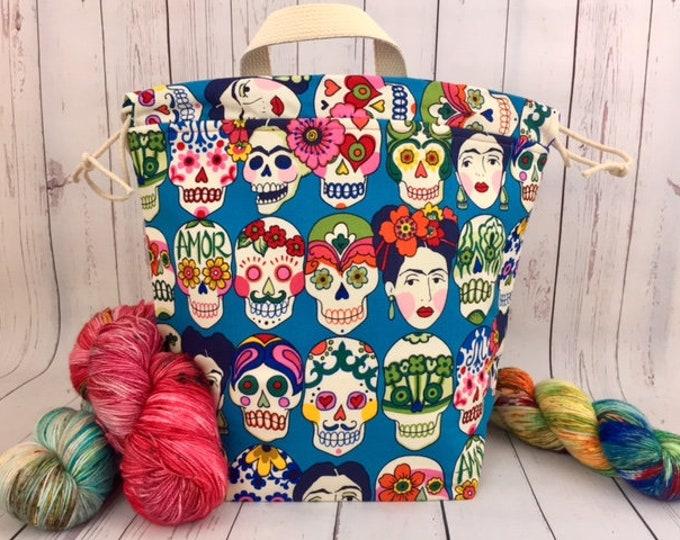 Sugar Skulls /Frida/ Amor, Bucket bag, Knitting project bag, Crochet project bag,  Project Bag, Yarn bowl, Large Project bag