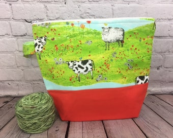 Sheep and Cows w/ Full length pocket, Knitting project bag, Crochet project bag,  Zipper Project Bag, Yarn tote