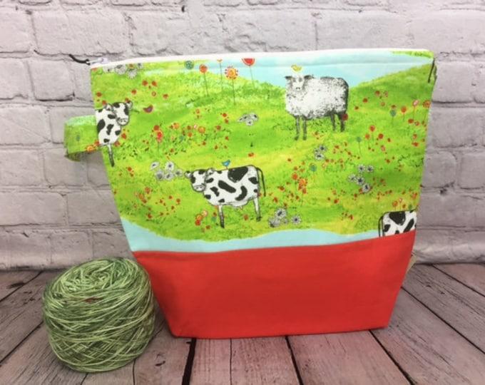 Sheep and Cows w/ Full length pocket, Knitting project bag, Crochet project bag,  Zipper Project Bag, Yarn tote