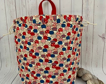 Red/ Blue Hedgehogs , Twisted Work Bag, Large Canvas project bag w/ full length pocket, Shawl /Sweater Knitting, Crochet Project, Needle
