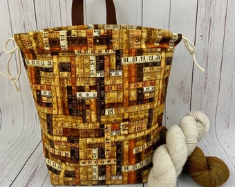 Rustic Ruler Bag, Twisted Bucket bag, Knitting project bag, Crochet project bag,  Project Bag, Yarn bowl, Large Project bag